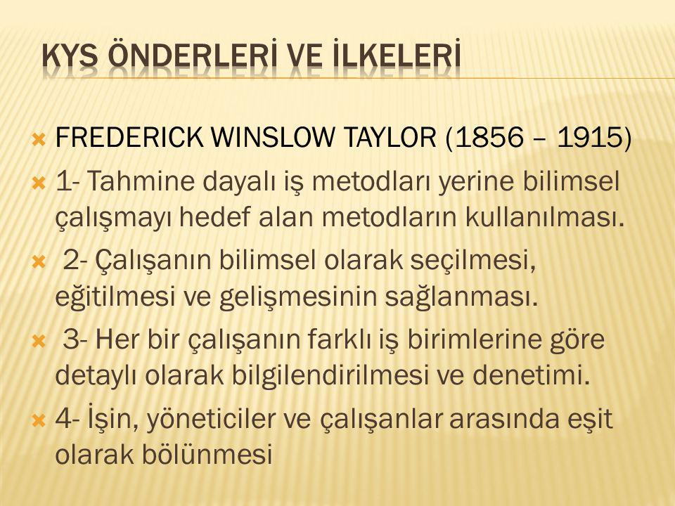  FREDERICK WINSLOW TAYLOR (1856 – 1915)  1- Tahmine dayalı iş metodları yerine bilimsel çalışmayı hedef alan metodların kullanılması.  2- Çalışanın