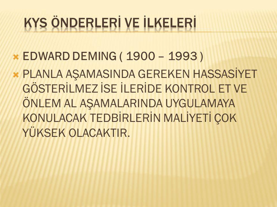  EDWARD DEMING ( 1900 – 1993 )  UYGULA  TASARLANAN VEYA REVİZE EDİLEN İŞ MODELİNİ UYGULAMAYA KOYARAK SONUÇLAR ELDE EDİN.