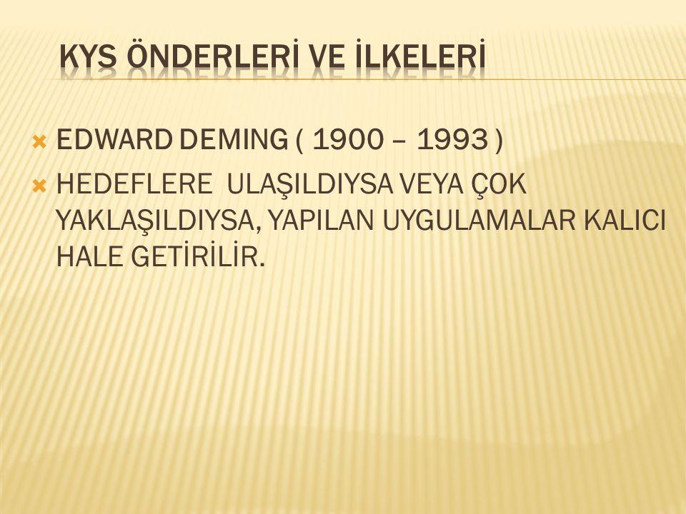  EDWARD DEMING ( 1900 – 1993 )  ÖNLEM AL  İŞ MODELİNDE İYİLEŞTİRMEYİ DEVAM ETTİRMEK VEYA ARTTIRMAK İÇİN GEREKLİ TEDBİRLERİ ALIN.