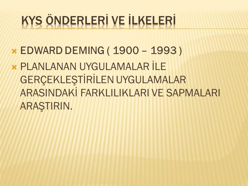  EDWARD DEMING ( 1900 – 1993 )  PLANLANAN UYGULAMALAR İLE GERÇEKLEŞTİRİLEN UYGULAMALAR ARASINDAKİ FARKLILIKLARI VE SAPMALARI ARAŞTIRIN.