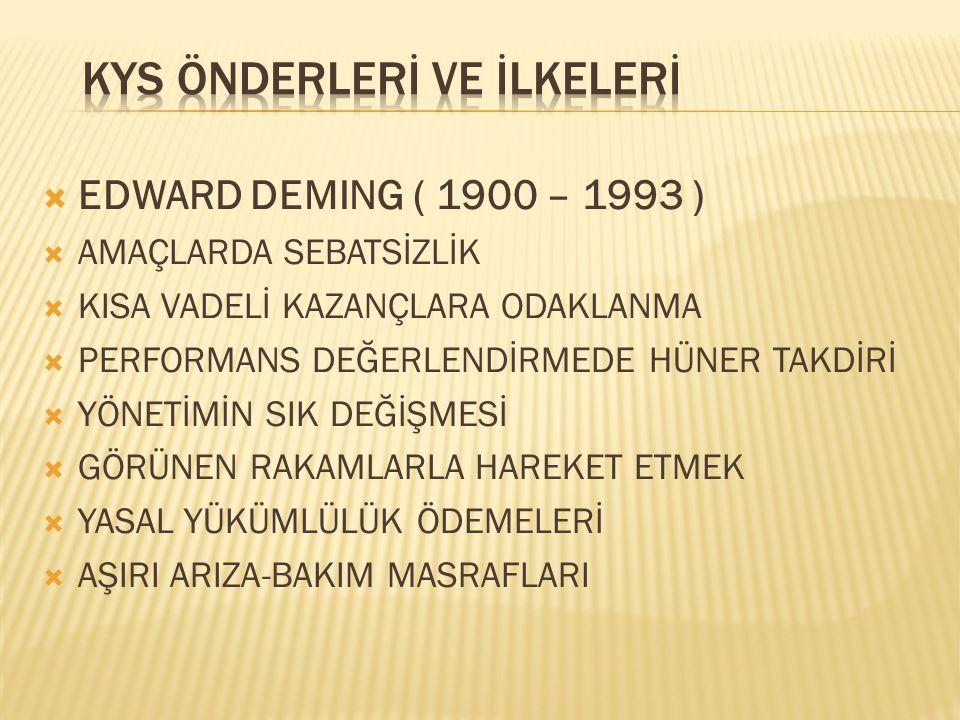  EDWARD DEMING ( 1900 – 1993 )  AMAÇLARDA SEBATSİZLİK  KISA VADELİ KAZANÇLARA ODAKLANMA  PERFORMANS DEĞERLENDİRMEDE HÜNER TAKDİRİ  YÖNETİMİN SIK