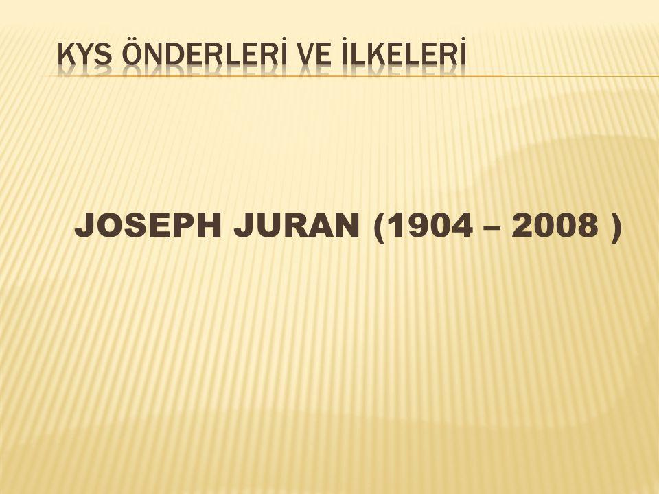 JOSEPH JURAN (1904 – 2008 )  A.B.D.Lİ ELEKTRİK MÜHENDİSİ  GENÇ YAŞTA A.B.D.
