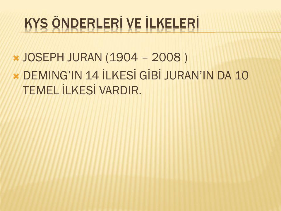  JOSEPH JURAN (1904 – 2008 )  DEMING'IN 14 İLKESİ GİBİ JURAN'IN DA 10 TEMEL İLKESİ VARDIR.