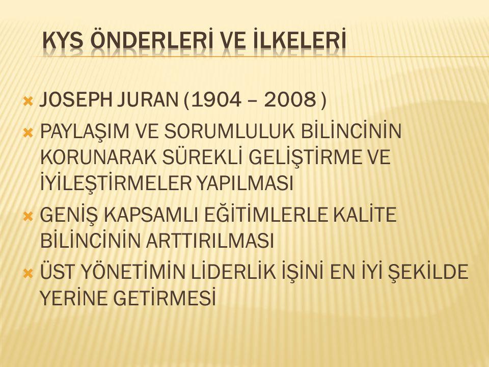  JOSEPH JURAN (1904 – 2008 )  PAYLAŞIM VE SORUMLULUK BİLİNCİNİN KORUNARAK SÜREKLİ GELİŞTİRME VE İYİLEŞTİRMELER YAPILMASI  GENİŞ KAPSAMLI EĞİTİMLERL