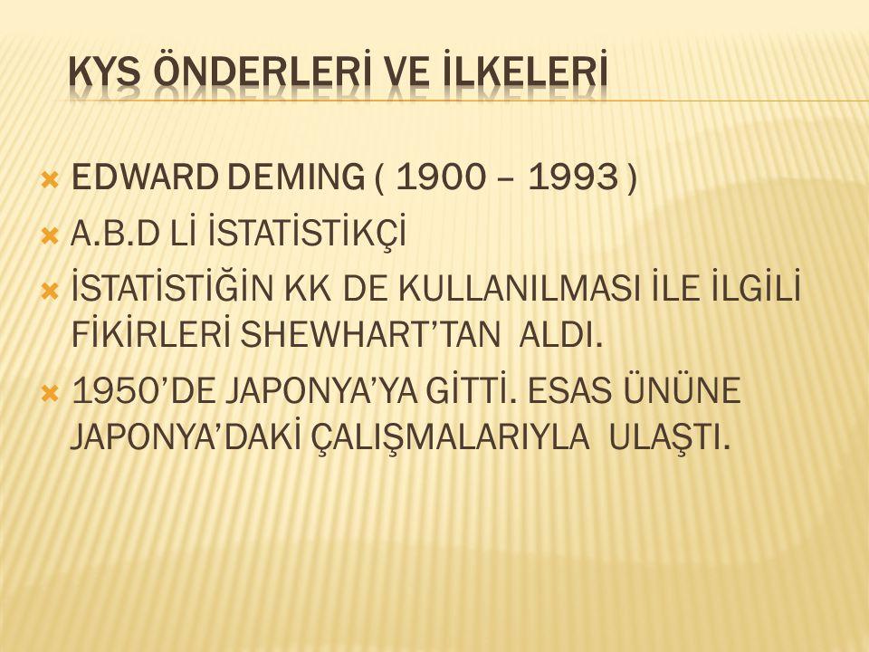  EDWARD DEMING ( 1900 – 1993 )  A.B.D Lİ İSTATİSTİKÇİ  İSTATİSTİĞİN KK DE KULLANILMASI İLE İLGİLİ FİKİRLERİ SHEWHART'TAN ALDI.  1950'DE JAPONYA'YA