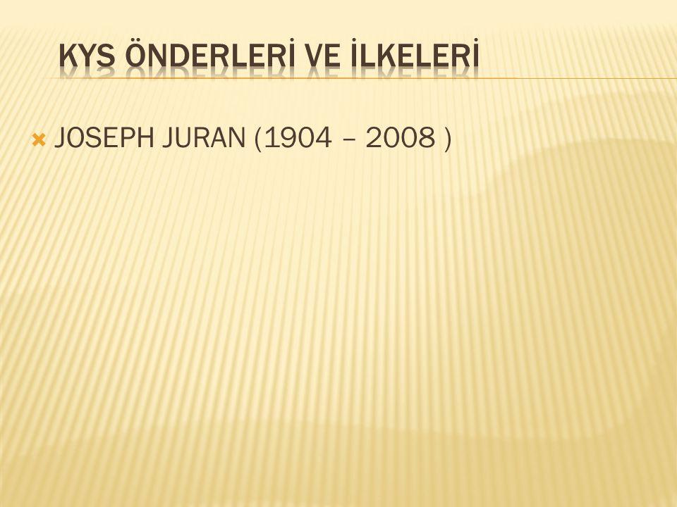  JOSEPH JURAN (1904 – 2008 )