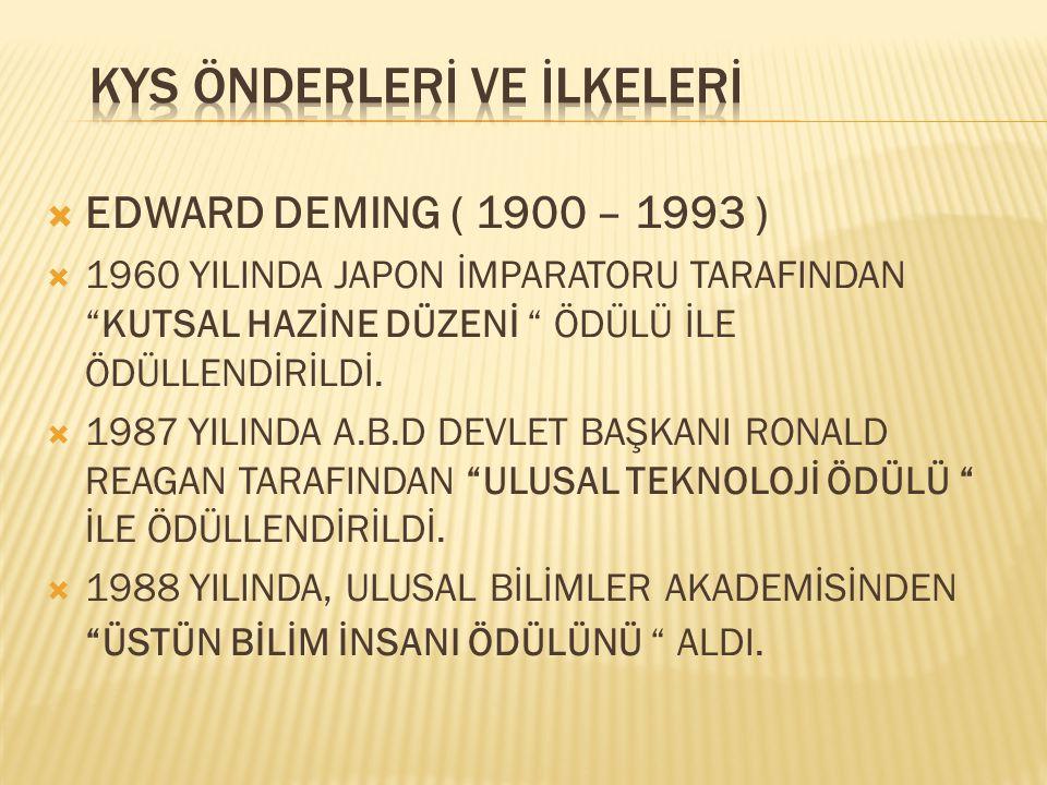 """ EDWARD DEMING ( 1900 – 1993 )  1960 YILINDA JAPON İMPARATORU TARAFINDAN """"KUTSAL HAZİNE DÜZENİ """" ÖDÜLÜ İLE ÖDÜLLENDİRİLDİ.  1987 YILINDA A.B.D DEVL"""