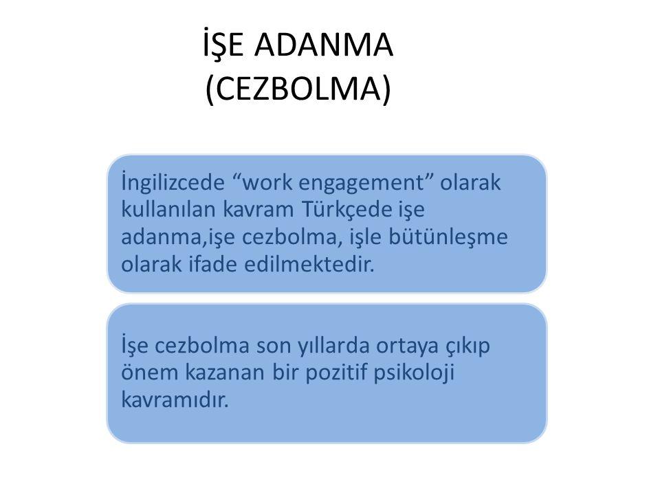 """İŞE ADANMA (CEZBOLMA) İngilizcede """"work engagement"""" olarak kullanılan kavram Türkçede işe adanma,işe cezbolma, işle bütünleşme olarak ifade edilmekted"""