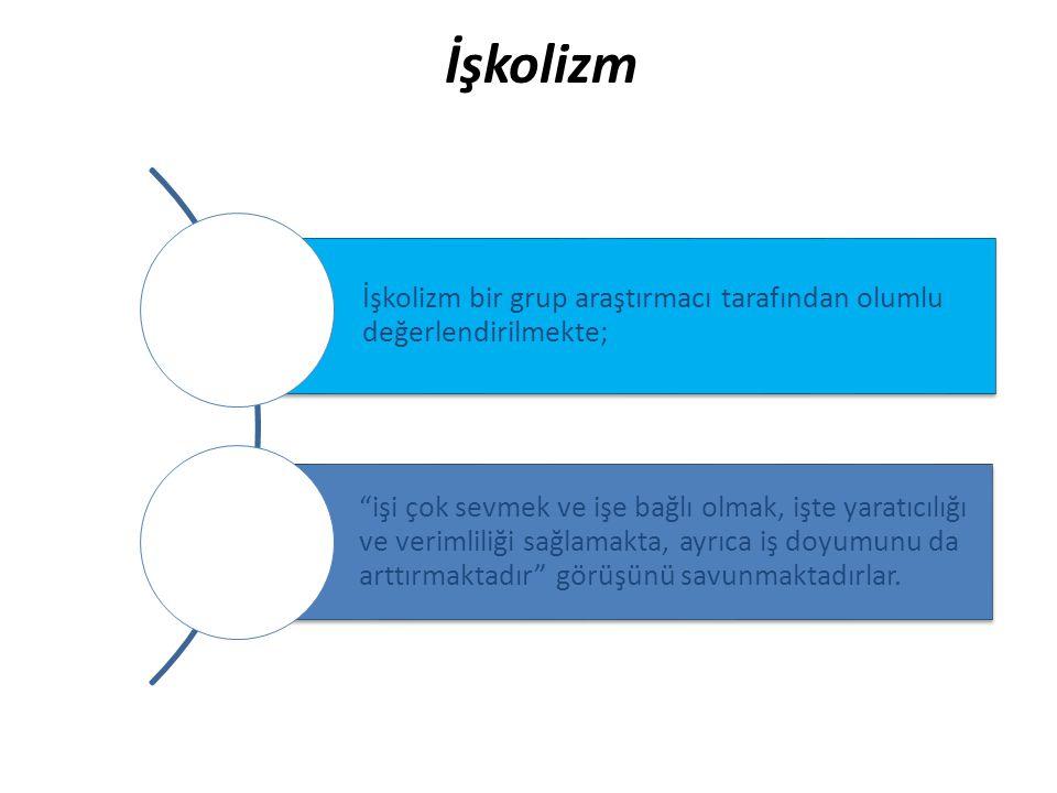 """İşkolizm İşkolizm bir grup araştırmacı tarafından olumlu değerlendirilmekte; """"işi çok sevmek ve işe bağlı olmak, işte yaratıcılığı ve verimliliği sağl"""