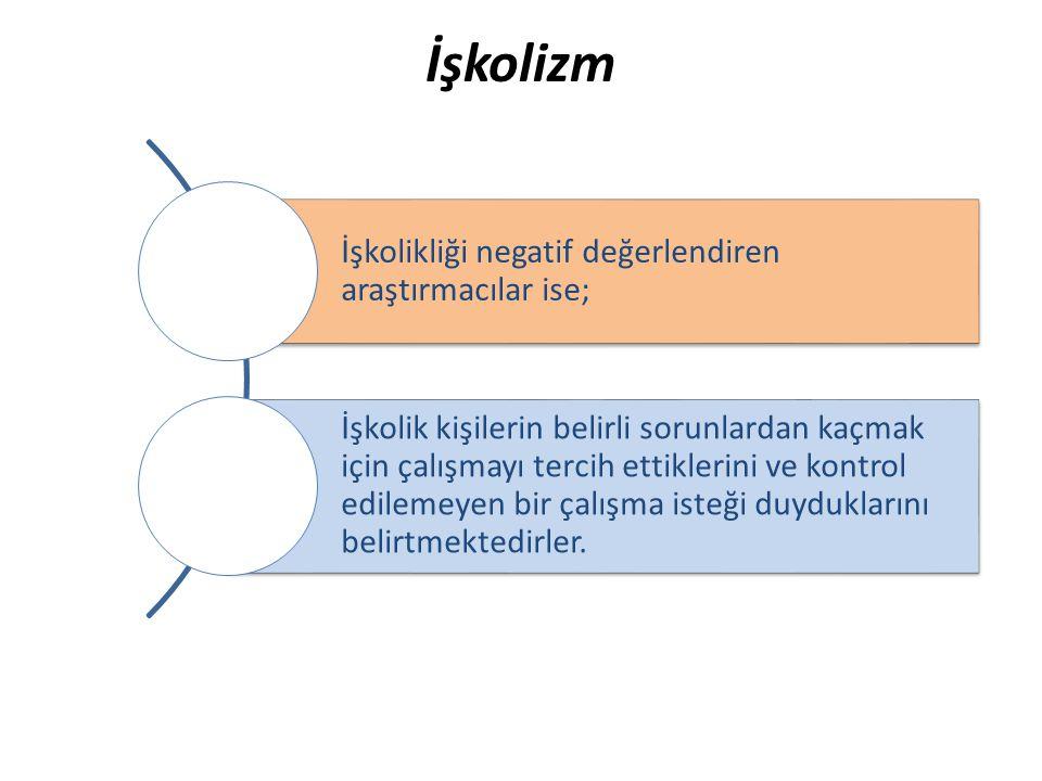 İşkolizm İşkolikliği negatif değerlendiren araştırmacılar ise; İşkolik kişilerin belirli sorunlardan kaçmak için çalışmayı tercih ettiklerini ve kontr