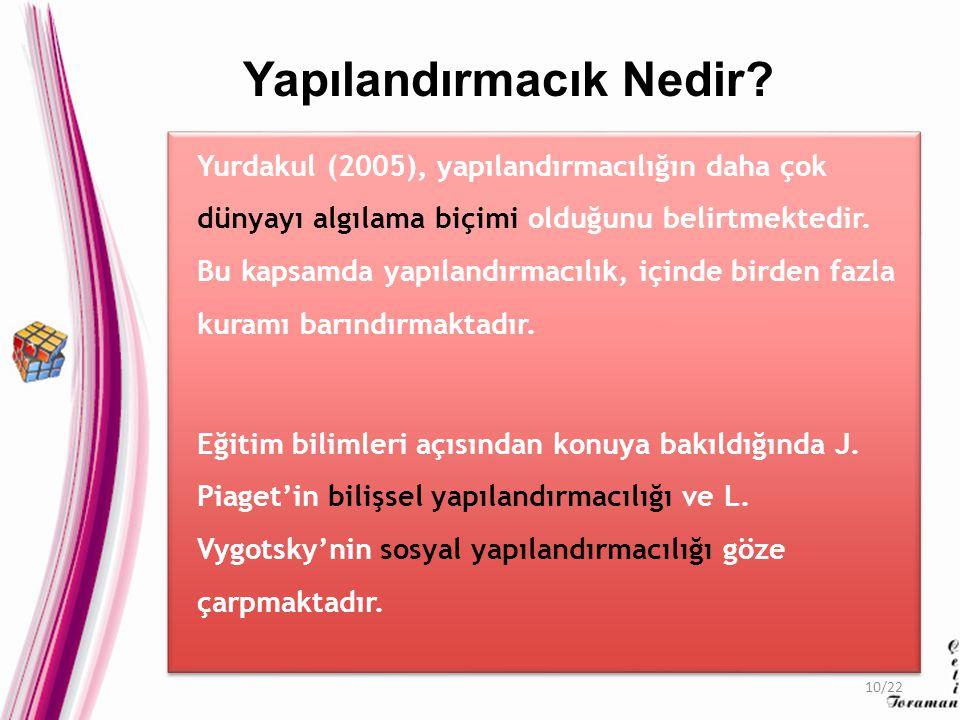 Yurdakul (2005), yapılandırmacılığın daha çok dünyayı algılama biçimi olduğunu belirtmektedir.