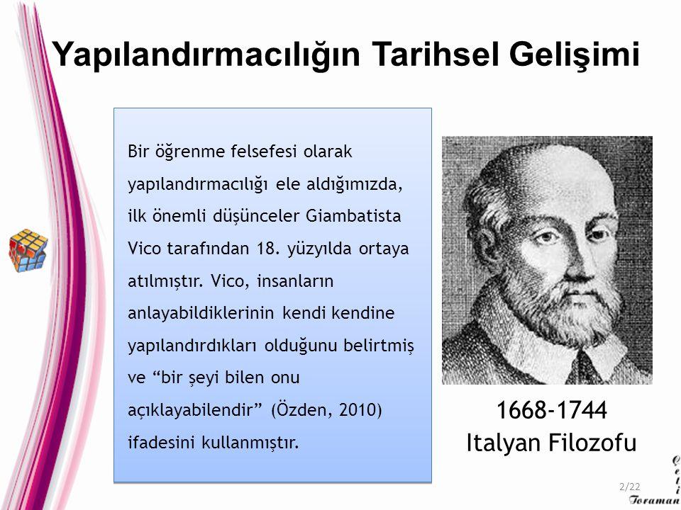 Bir öğrenme felsefesi olarak yapılandırmacılığı ele aldığımızda, ilk önemli düşünceler Giambatista Vico tarafından 18.