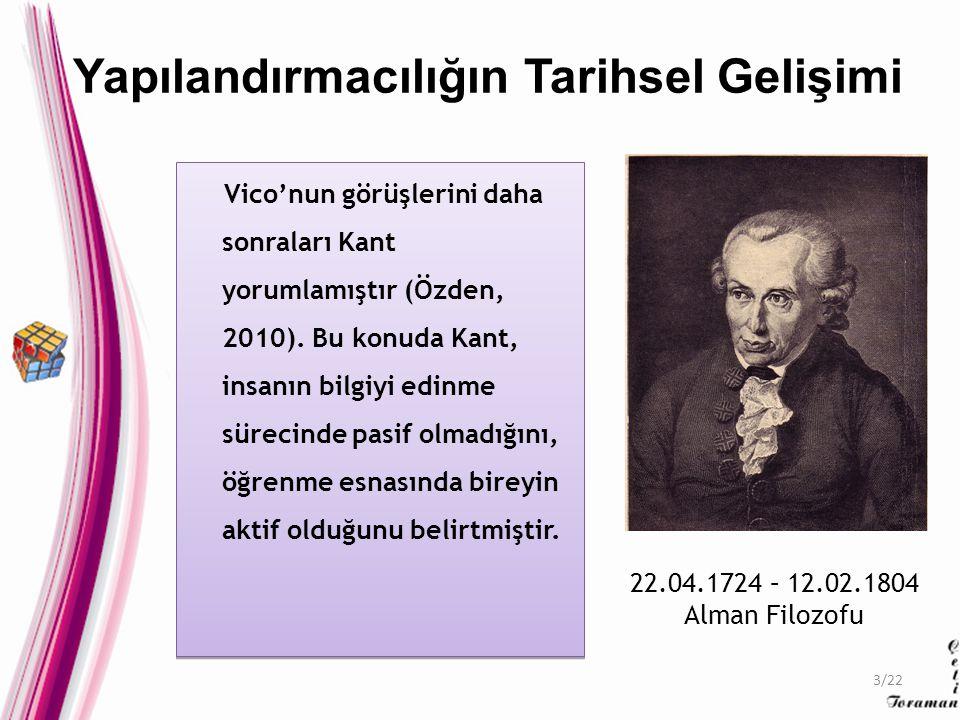 Vico'nun görüşlerini daha sonraları Kant yorumlamıştır (Özden, 2010). Bu konuda Kant, insanın bilgiyi edinme sürecinde pasif olmadığını, öğrenme esnas
