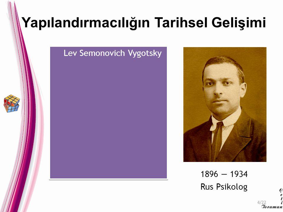Lev Semonovich Vygotsky 1896 — 1934 Rus Psikolog Yapılandırmacılığın Tarihsel Gelişimi 4/22