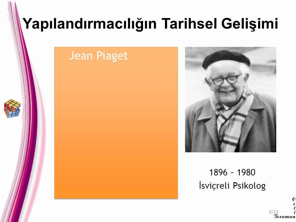 Jean Piaget 1896 – 1980 İsviçreli Psikolog Yapılandırmacılığın Tarihsel Gelişimi 6/22