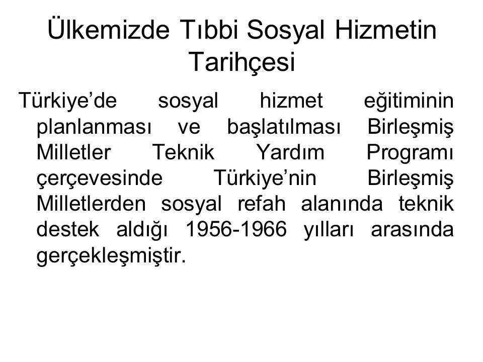 Ülkemizde Tıbbi Sosyal Hizmetin Tarihçesi Türkiye'de sosyal hizmet eğitiminin planlanması ve başlatılması Birleşmiş Milletler Teknik Yardım Programı ç