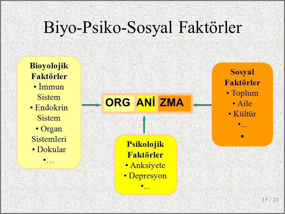 / 2015 Biyo-Psiko-Sosyal Faktörler Psikolojik Faktörler Anksiyete Depresyon... Bioyolojik Faktörler İmmun Sistem Endokrin Sistem Organ Sistemleri Doku