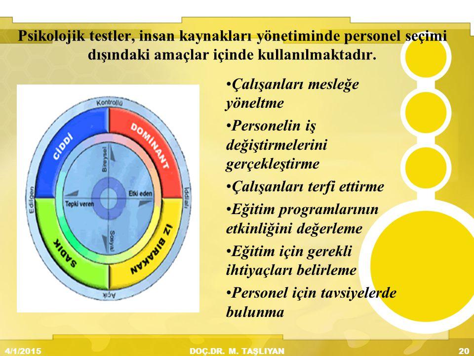 Psikolojik testler, insan kaynakları yönetiminde personel seçimi dışındaki amaçlar içinde kullanılmaktadır. Çalışanları mesleğe yöneltme Personelin iş