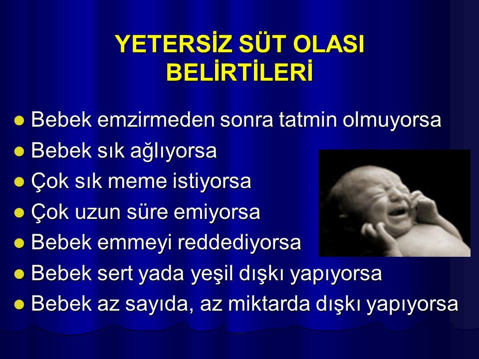 YETERSİZ SÜT OLASI BELİRTİLERİ Bebek emzirmeden sonra tatmin olmuyorsa Bebek emzirmeden sonra tatmin olmuyorsa Bebek sık ağlıyorsa Bebek sık ağlıyorsa