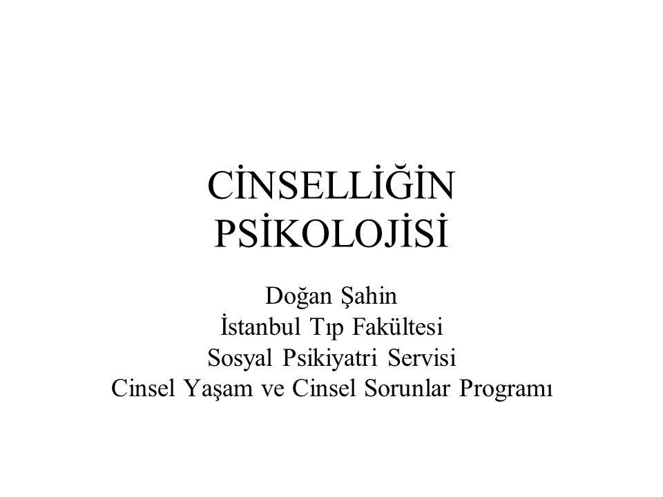 CİNSELLİĞİN PSİKOLOJİSİ Doğan Şahin İstanbul Tıp Fakültesi Sosyal Psikiyatri Servisi Cinsel Yaşam ve Cinsel Sorunlar Programı