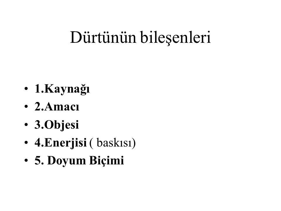Dürtünün bileşenleri 1.Kaynağı 2.Amacı 3.Objesi 4.Enerjisi ( baskısı) 5. Doyum Biçimi