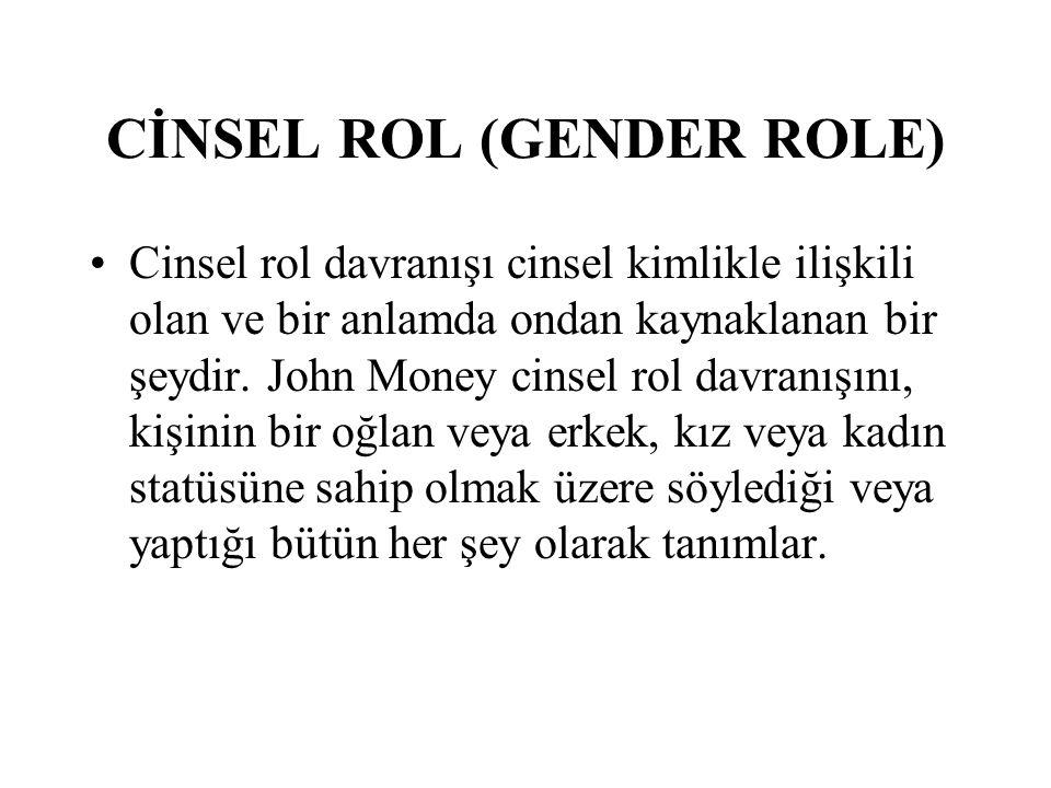 CİNSEL ROL (GENDER ROLE) Cinsel rol davranışı cinsel kimlikle ilişkili olan ve bir anlamda ondan kaynaklanan bir şeydir.