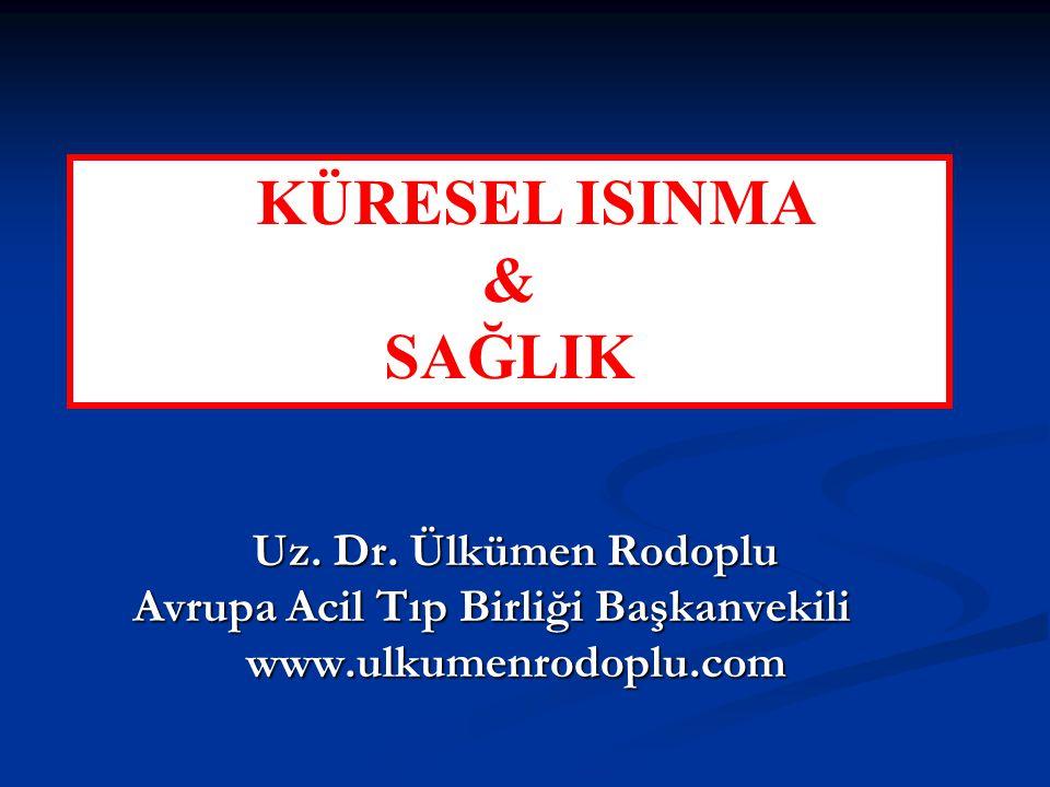 Uz. Dr. Ülkümen Rodoplu Uz. Dr. Ülkümen Rodoplu Avrupa Acil Tıp Birliği Başkanvekili www.ulkumenrodoplu.com www.ulkumenrodoplu.com KÜRESEL ISINMA & SA