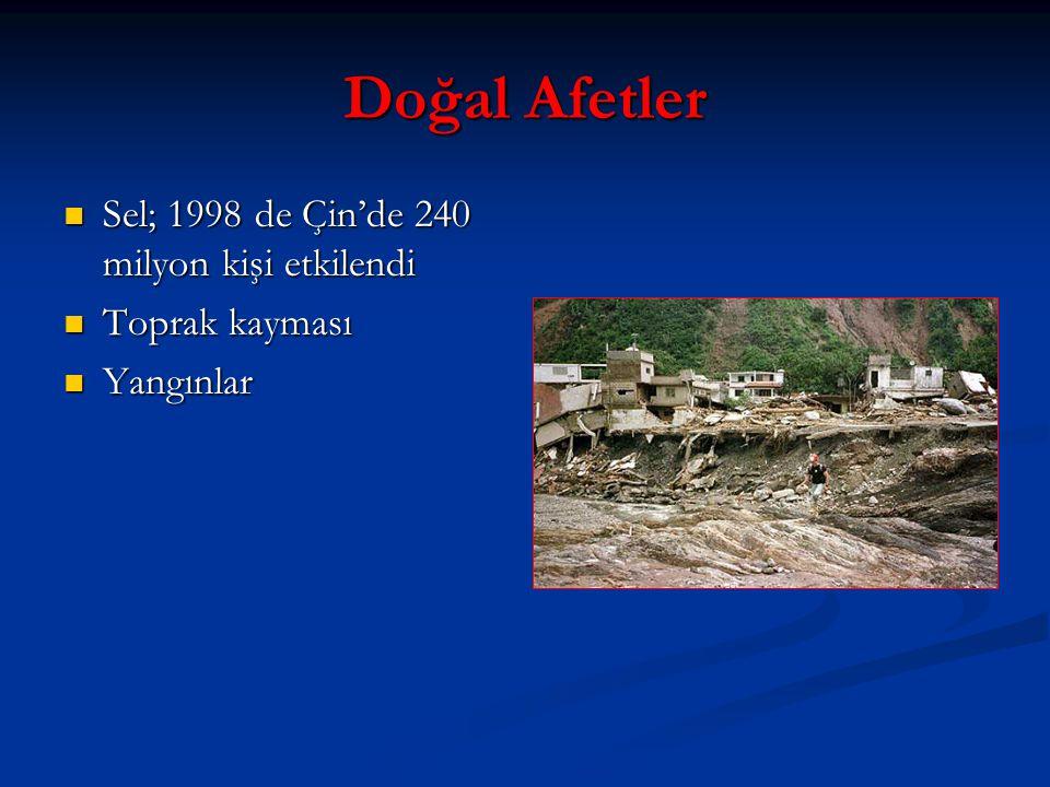 Doğal Afetler Sel; 1998 de Çin'de 240 milyon kişi etkilendi Sel; 1998 de Çin'de 240 milyon kişi etkilendi Toprak kayması Toprak kayması Yangınlar Yangınlar