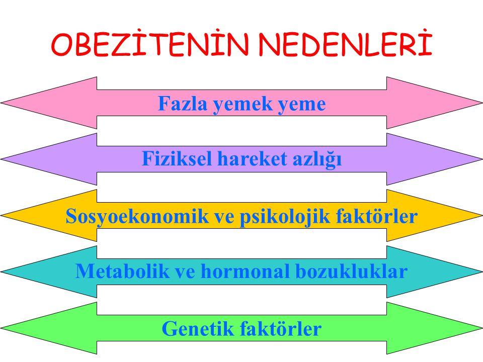 OBEZİTENİN NEDENLERİ Fazla yemek yeme Fiziksel hareket azlığı Sosyoekonomik ve psikolojik faktörler Metabolik ve hormonal bozukluklar Genetik faktörle