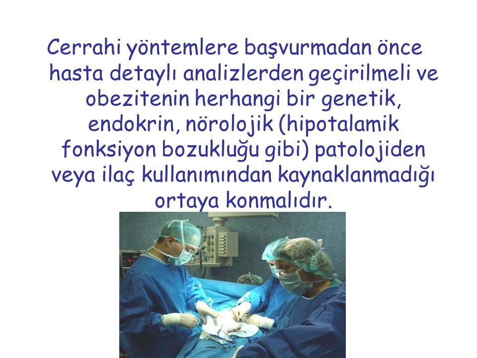 Cerrahi yöntemlere başvurmadan önce hasta detaylı analizlerden geçirilmeli ve obezitenin herhangi bir genetik, endokrin, nörolojik (hipotalamik fonksi