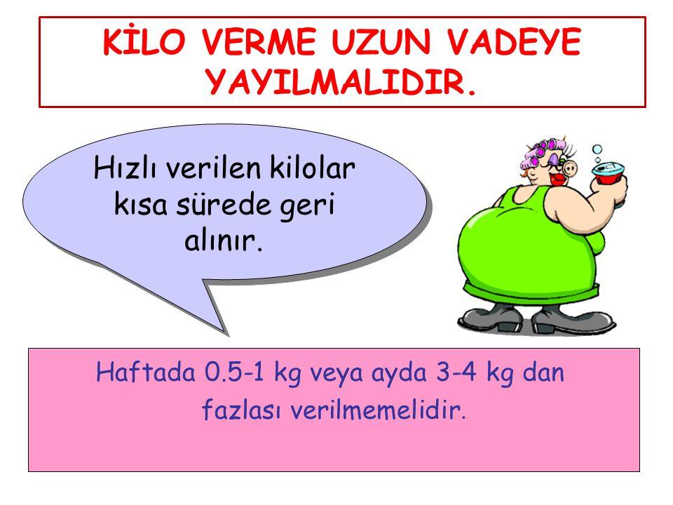 KİLO VERME UZUN VADEYE YAYILMALIDIR. Hızlı verilen kilolar kısa sürede geri alınır. Haftada 0.5-1 kg veya ayda 3-4 kg dan fazlası verilmemelidir.