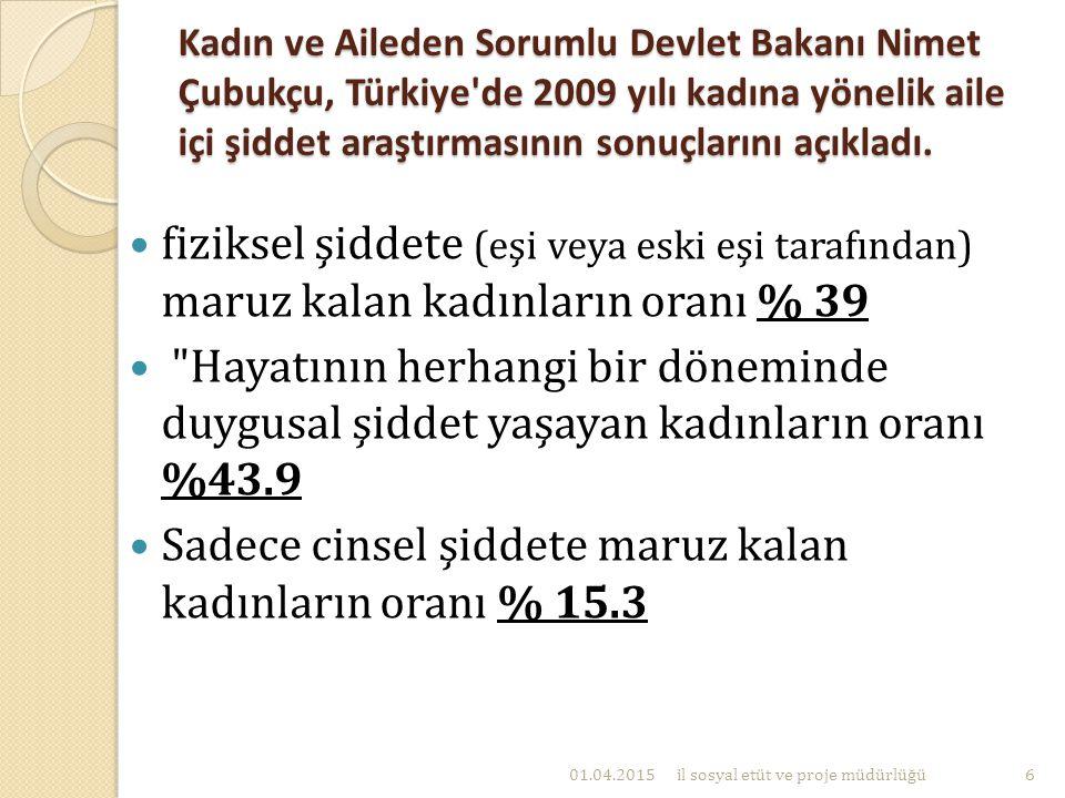 Kadın ve Aileden Sorumlu Devlet Bakanı Nimet Çubukçu, Türkiye'de 2009 yılı kadına yönelik aile içi şiddet araştırmasının sonuçlarını açıkladı. fizikse