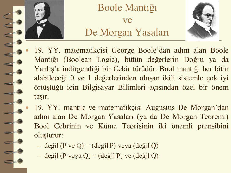 Boole Mantığı ve De Morgan Yasaları  19. YY. matematikçisi George Boole'dan adını alan Boole Mantığı (Boolean Logic), bütün değerlerin Doğru ya da Ya