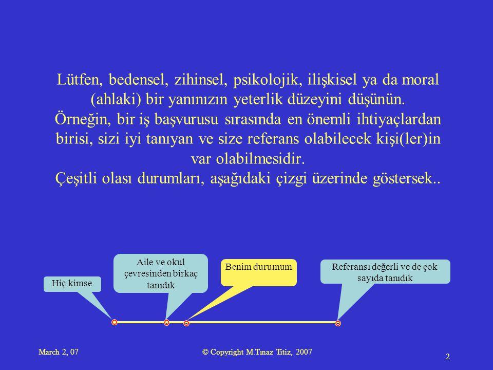 March 2, 07 © Copyright M.Tınaz Titiz, 2007 3 Yaşam Alanı'mı oluşturuyorum.