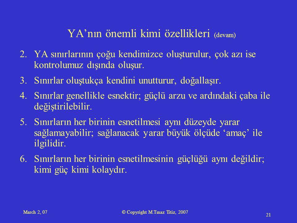 March 2, 07 © Copyright M.Tınaz Titiz, 2007 21 YA'nın önemli kimi özellikleri (devam) 2.YA sınırlarının çoğu kendimizce oluşturulur, çok azı ise kontrolumuz dışında oluşur.