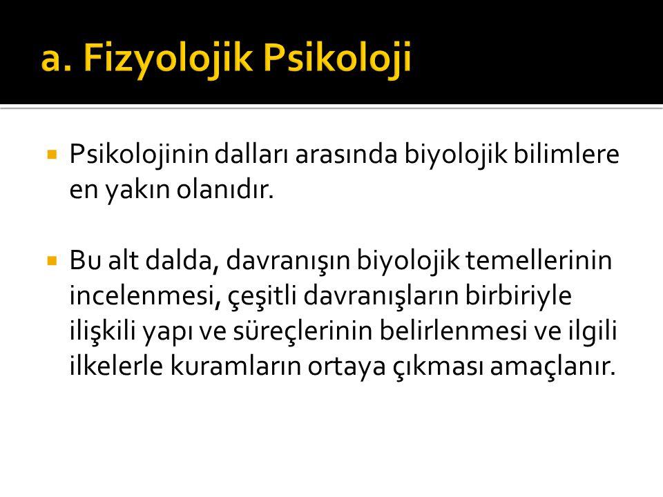  Psikolojinin dalları arasında biyolojik bilimlere en yakın olanıdır.