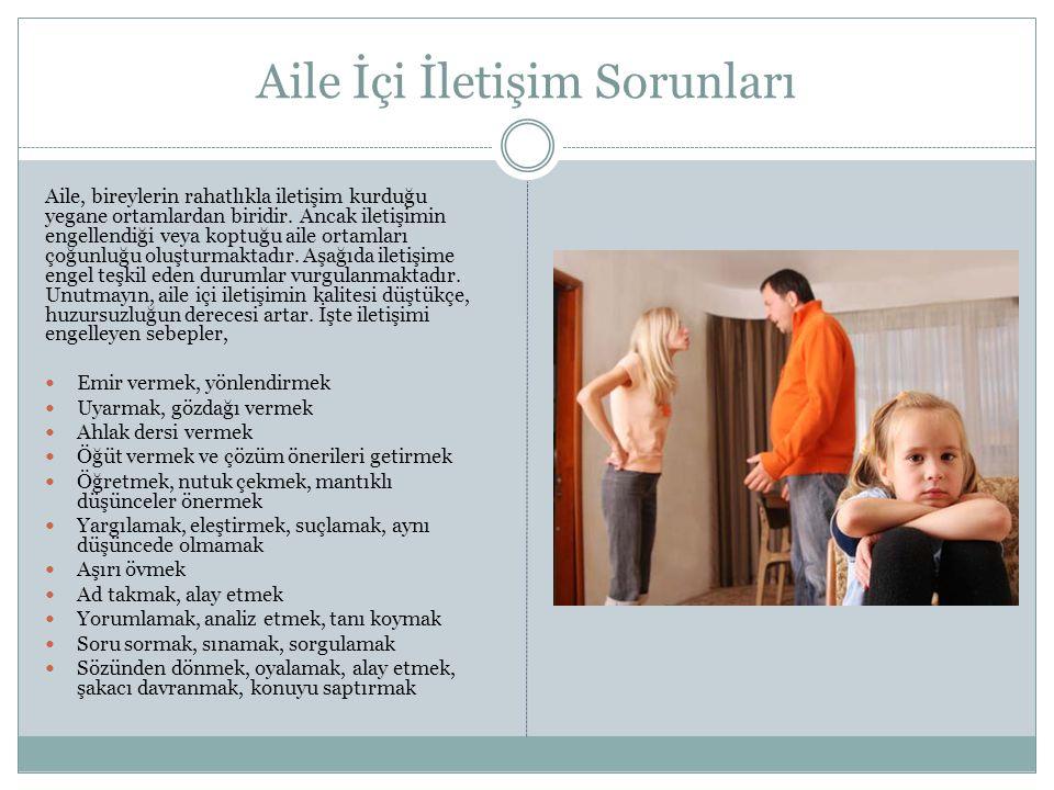 Aile İçi İletişim Sorunları Aile, bireylerin rahatlıkla iletişim kurduğu yegane ortamlardan biridir.