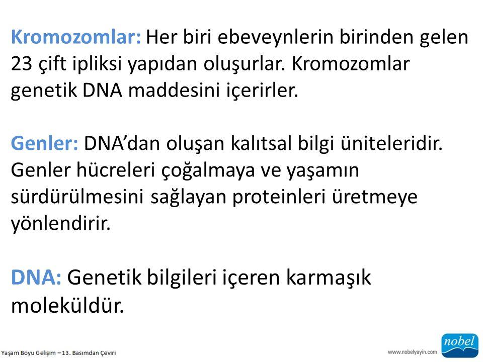 Kromozomlar: Her biri ebeveynlerin birinden gelen 23 çift ipliksi yapıdan oluşurlar. Kromozomlar genetik DNA maddesini içerirler. Genler: DNA'dan oluş