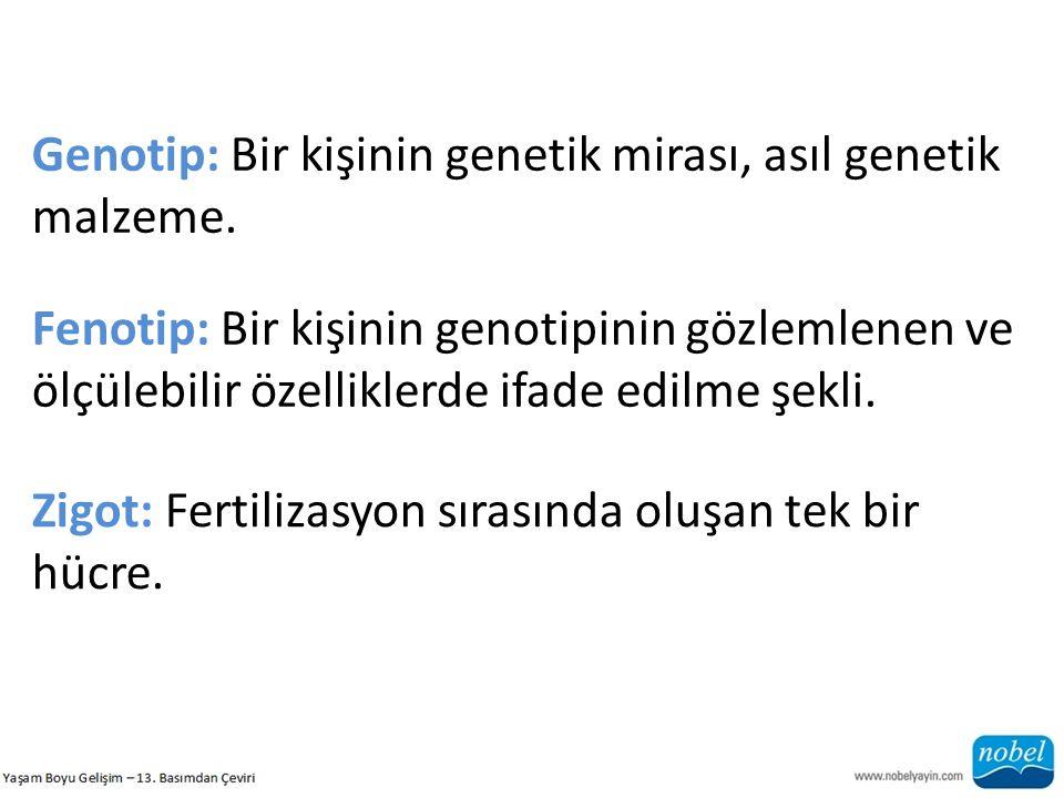 Genotip: Bir kişinin genetik mirası, asıl genetik malzeme. Fenotip: Bir kişinin genotipinin gözlemlenen ve ölçülebilir özelliklerde ifade edilme şekli