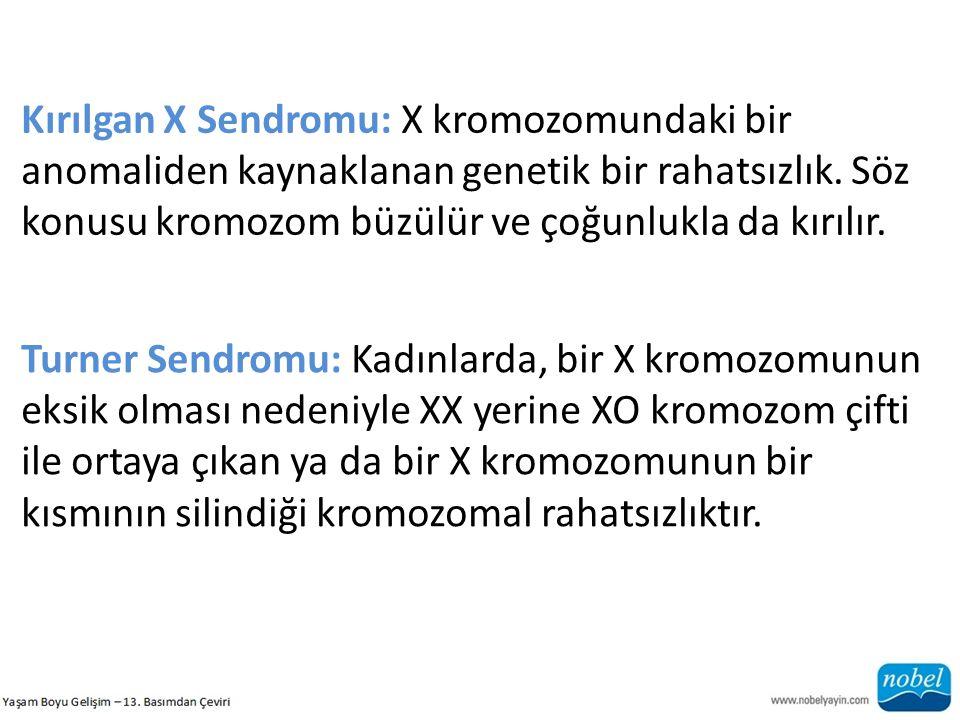 Kırılgan X Sendromu: X kromozomundaki bir anomaliden kaynaklanan genetik bir rahatsızlık. Söz konusu kromozom büzülür ve çoğunlukla da kırılır. Turner