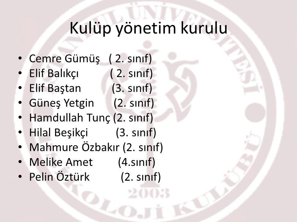 Kulüp yönetim kurulu Cemre Gümüş ( 2.sınıf) Elif Balıkçı ( 2.