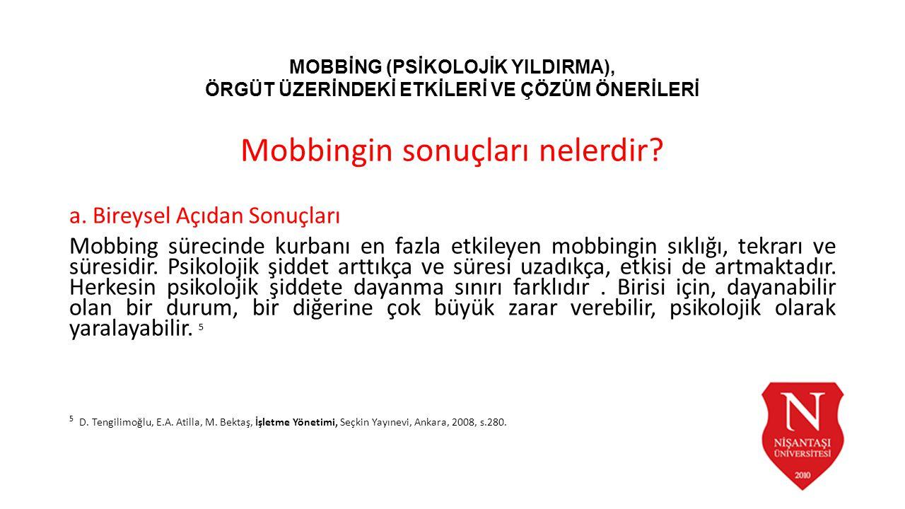 Mobbingin sonuçları nelerdir? a. Bireysel Açıdan Sonuçları Mobbing sürecinde kurbanı en fazla etkileyen mobbingin sıklığı, tekrarı ve süresidir. Psiko