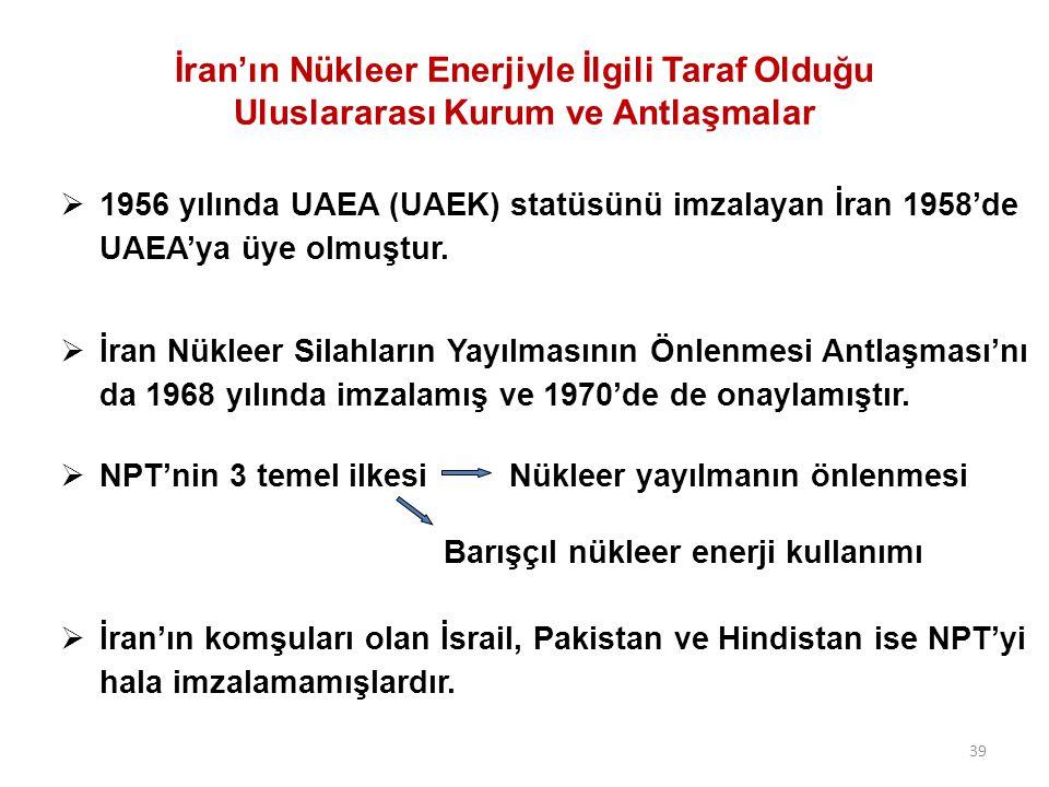 İran'ın Nükleer Enerjiyle İlgili Taraf Olduğu Uluslararası Kurum ve Antlaşmalar  1956 yılında UAEA (UAEK) statüsünü imzalayan İran 1958'de UAEA'ya üye olmuştur.
