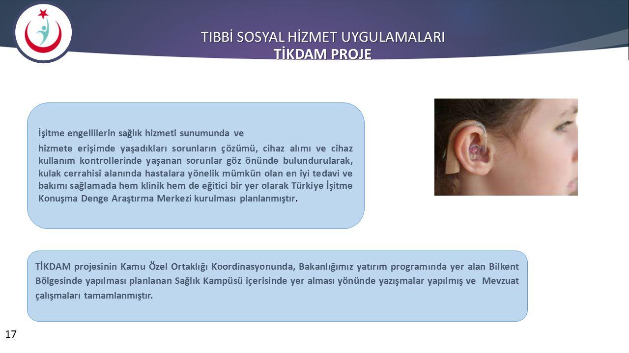 17 TIBBİ SOSYAL HİZMET UYGULAMALARI TİKDAM PROJE İşitme engellilerin sağlık hizmeti sunumunda ve hizmete erişimde yaşadıkları sorunların çözümü, cihaz