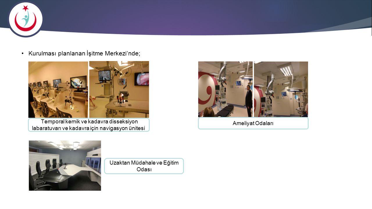 Kurulması planlanan İşitme Merkezi'nde; Temporal kemik ve kadavra disseksiyon labaratuvarı ve kadavra için navigasyon ünitesi Ameliyat Odaları Uzaktan