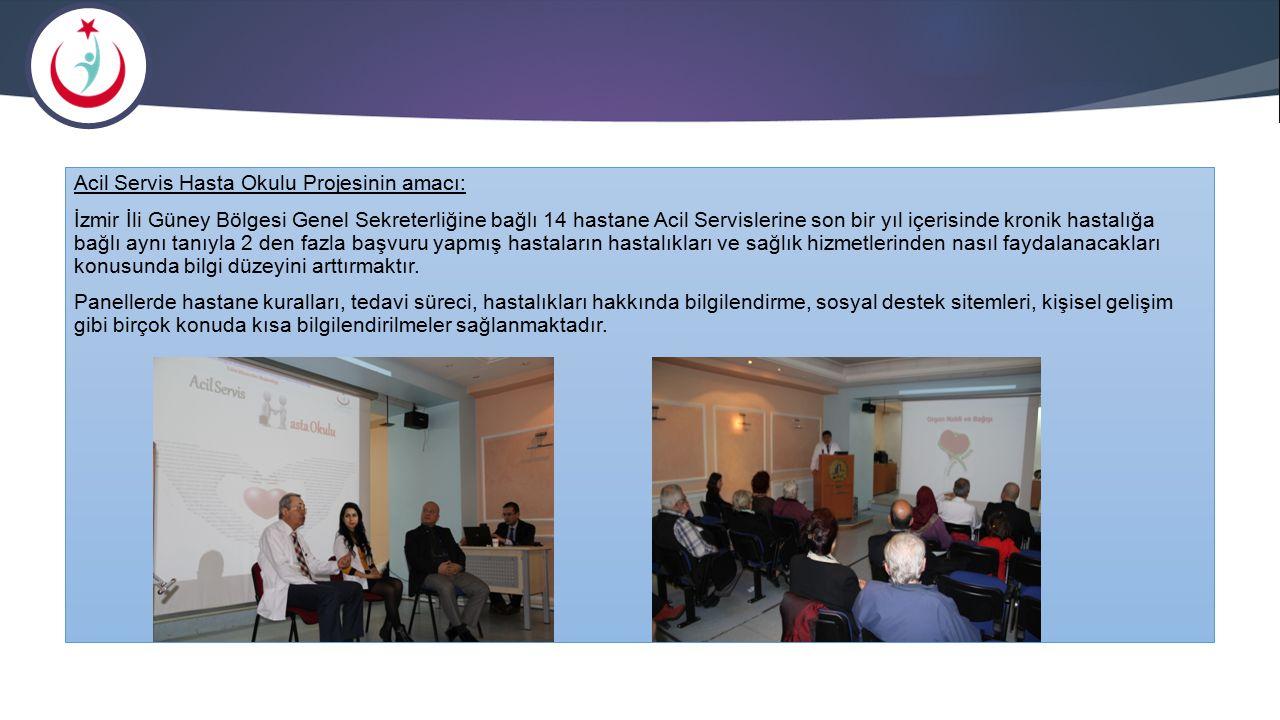 Acil Servis Hasta Okulu Projesinin amacı: İzmir İli Güney Bölgesi Genel Sekreterliğine bağlı 14 hastane Acil Servislerine son bir yıl içerisinde kroni