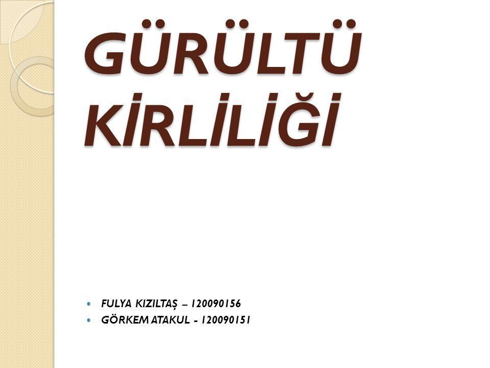 GÜRÜLTÜ K İ RL İ L İĞİ FULYA KIZILTAŞ – 120090156 GÖRKEM ATAKUL - 120090151