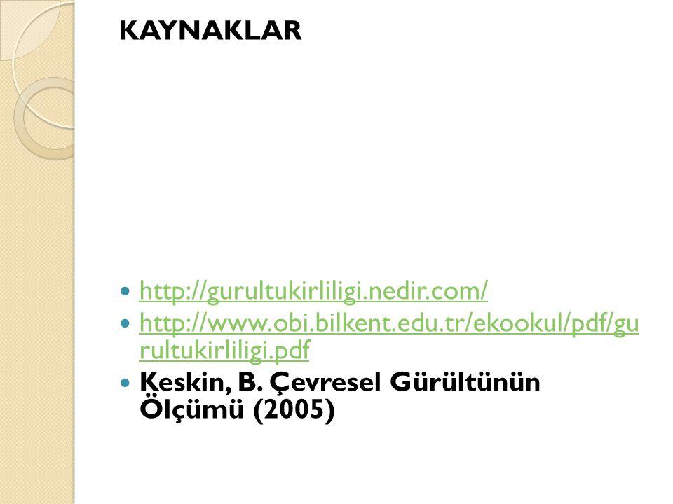 KAYNAKLAR http://gurultukirliligi.nedir.com/ http://www.obi.bilkent.edu.tr/ekookul/pdf/gu rultukirliligi.pdf http://www.obi.bilkent.edu.tr/ekookul/pdf/gu rultukirliligi.pdf Keskin, B.