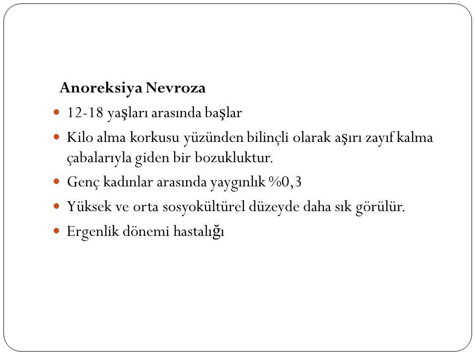 Anoreksiya Nevroza 12-18 ya ş ları arasında ba ş lar Kilo alma korkusu yüzünden bilinçli olarak a ş ırı zayıf kalma çabalarıyla giden bir bozukluktur.