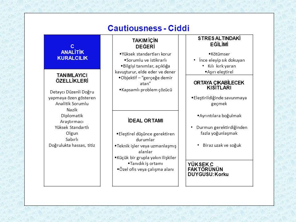 Cautiousness - Ciddi C ANALİTİK KURALCILIK TAKIM İÇİN DEĞERİ Yüksek standartları korur Sorumlu ve istikrarlı Bilgiyi tanımlar, açıklığa kavuşturur, el